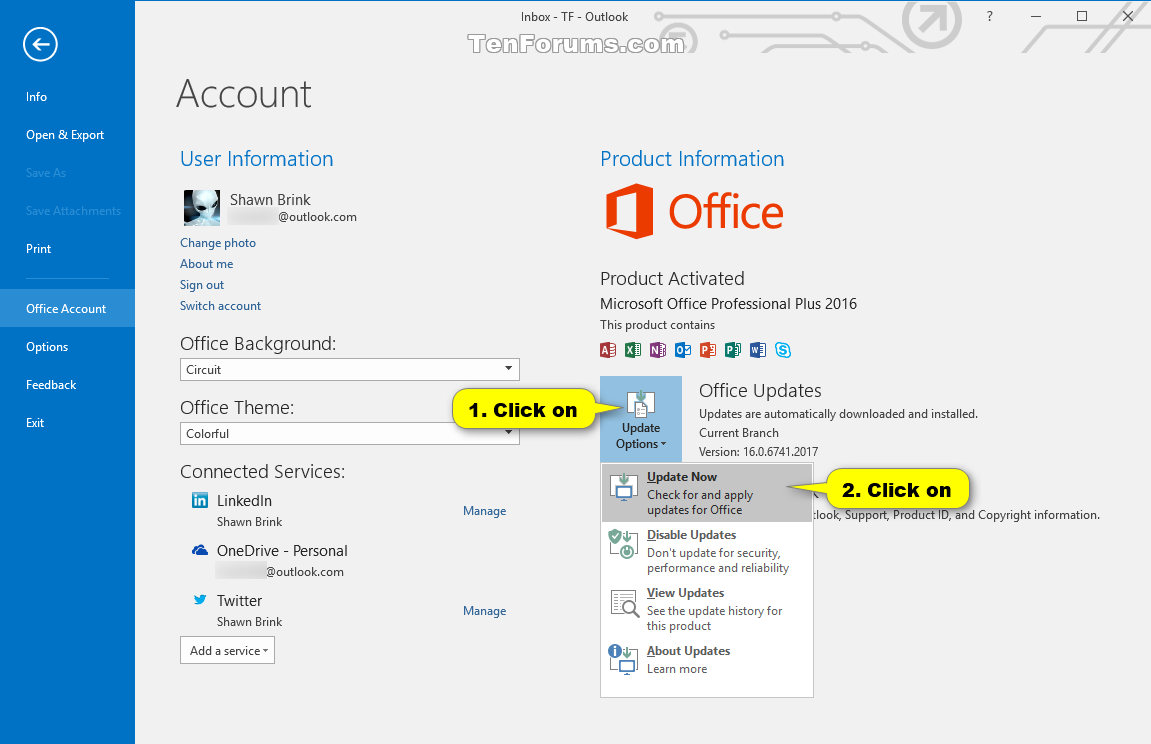 Check for Updates in Office 2016 for Windows | Tutorials