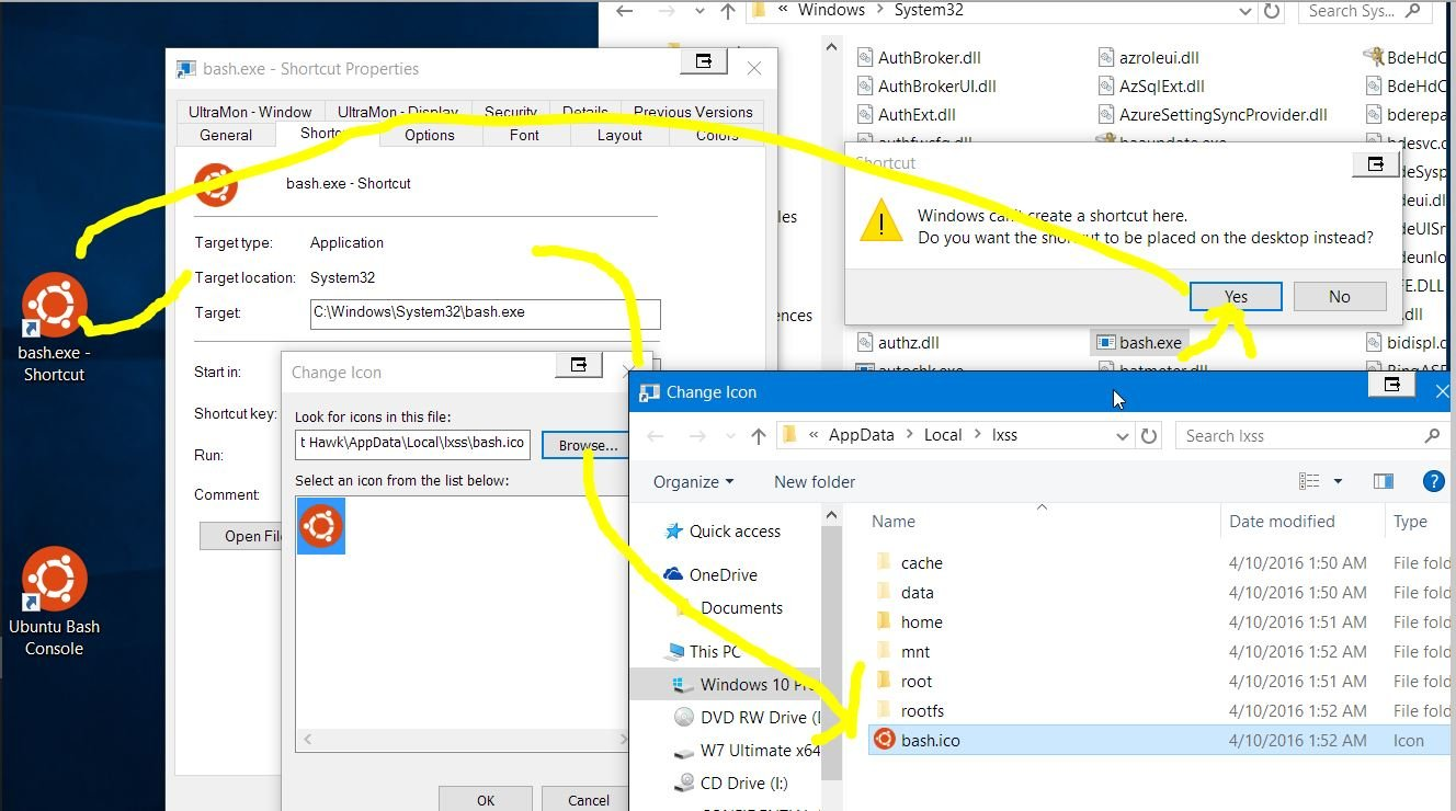 windows 10 create short cut from pinned application