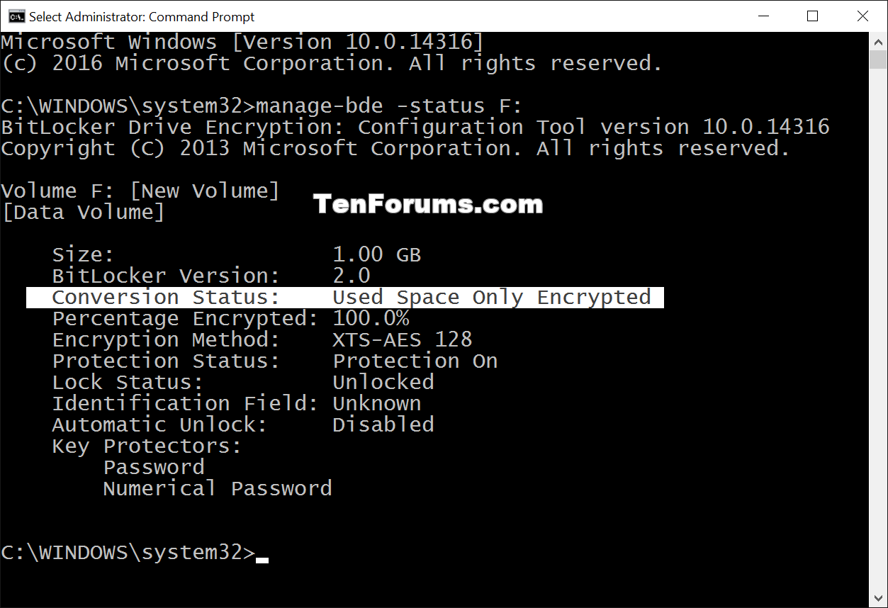 Check BitLocker Drive Encryption Status in Windows 10