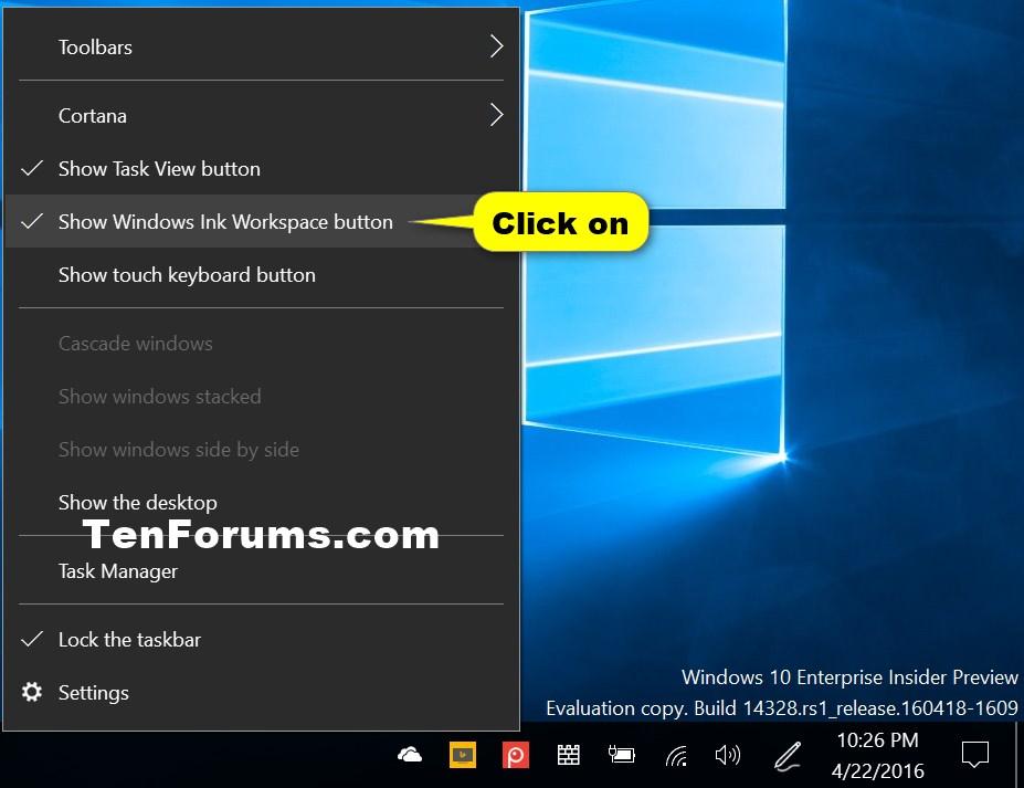 Hide Or Show Windows Ink Workspace Button On Taskbar In Windows 10