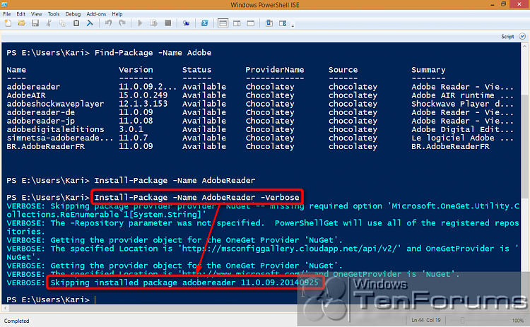 PowerShell PackageManagement (OneGet) - Install Apps from Command Line-2014-10-31_02h32_18.png