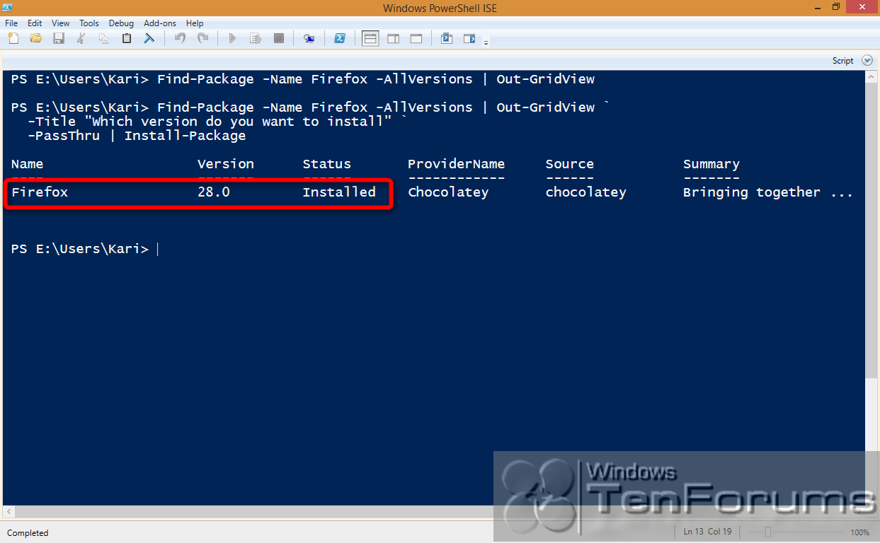 PowerShell PackageManagement (OneGet) - Install Apps from Command