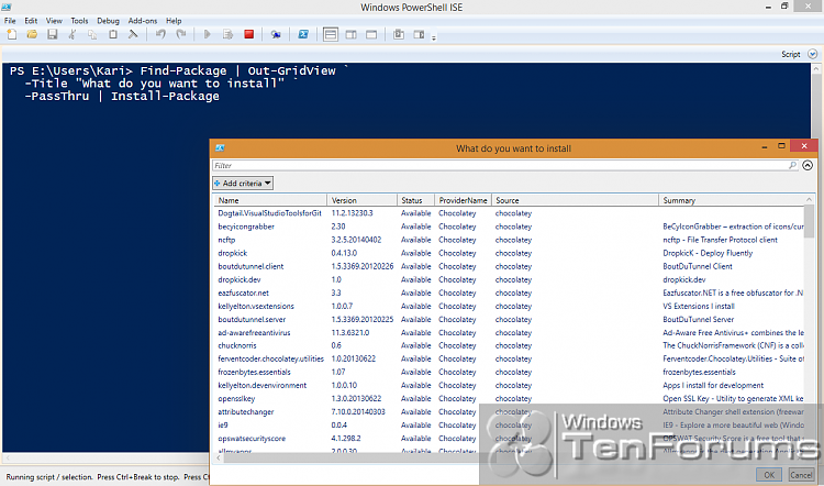 PowerShell PackageManagement (OneGet) - Install Apps from Command Line-2014-10-31_04h41_50.png