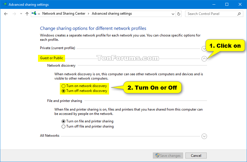 network discovery in windows 10