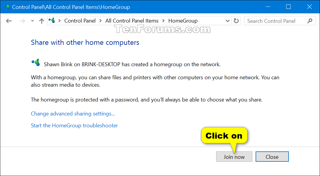Join Homegroup in Windows 10 | Tutorials