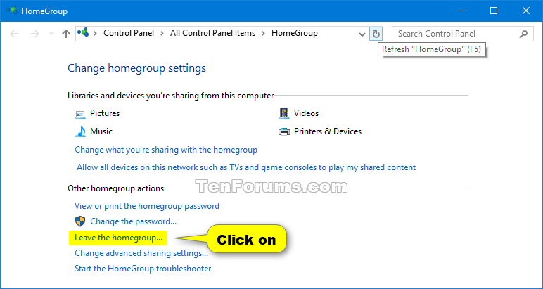 how to delete homegroup from windows 10