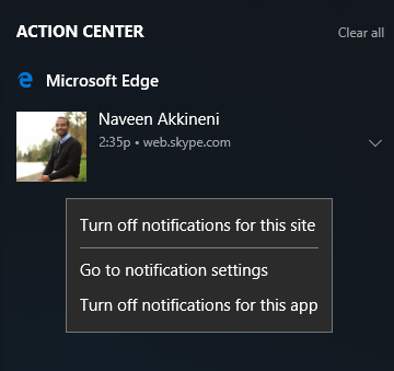Turn On or Off Web Notifications for Sites in Microsoft Edge