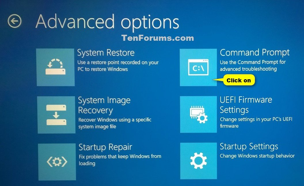 Open Command Prompt at Boot in Windows 10 Windows 10 Tutorials