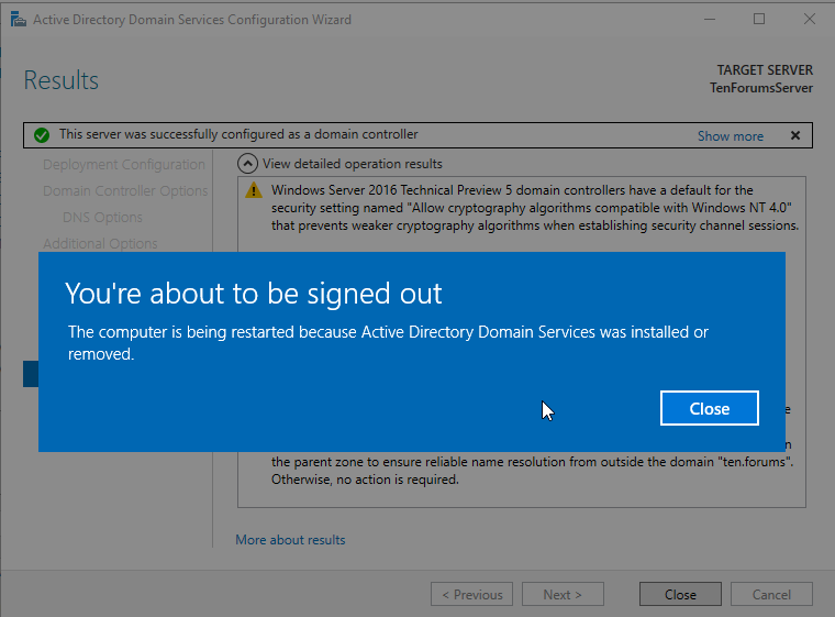 active directory domain services configuration wizard 2016