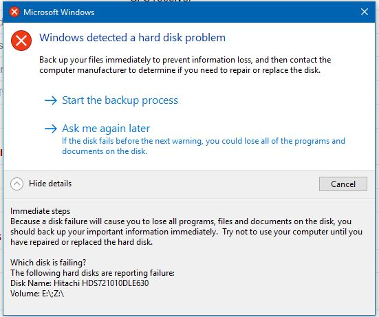 Name:  160526a Windows Detected a Hard Disk Problem.JPG