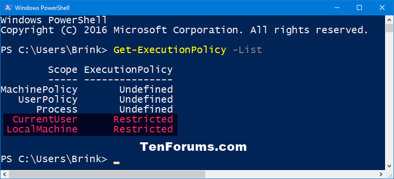 Change PowerShell Script Execution Policy in Windows 10