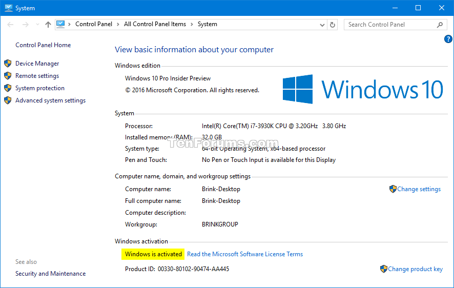 Activation of Windows 10 - Check - Windows 10 Tutorials