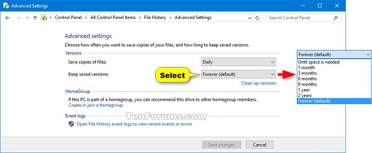 control panel windows 10 change document storage