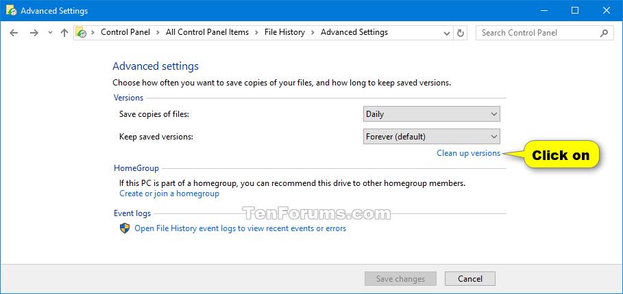 Delete Older Versions of File History in Windows 10   Tutorials
