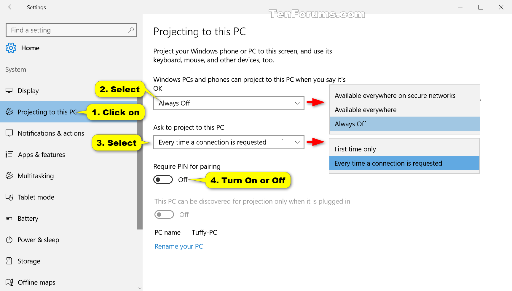 Change when to Ask to Project to this PC in Windows 10