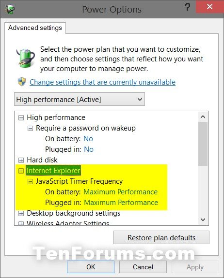 Add or Remove Internet Explorer Power Options in Windows