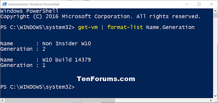See if Hyper-V Virtual Machine is Generation 1 or Generation 2-hyper-v_generation_powershell.png