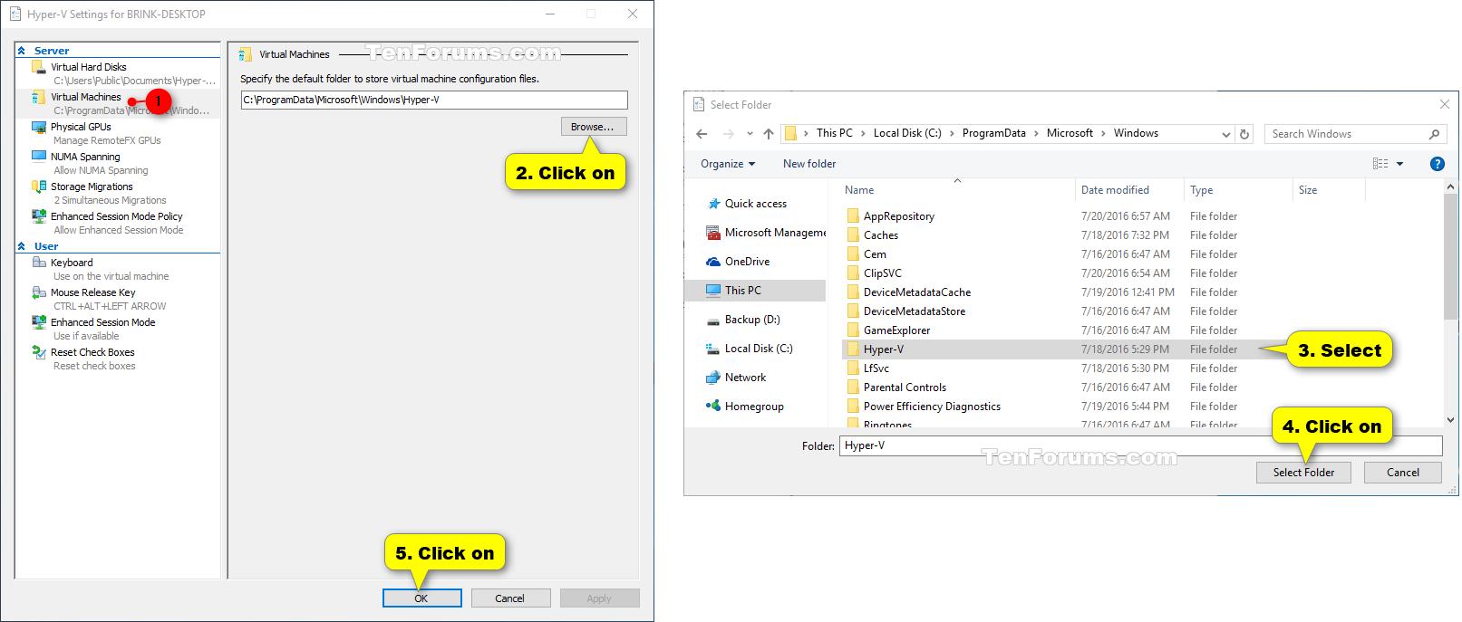 Change Hyper-V Virtual Machines Default Folder in Windows 10 | Tutorials