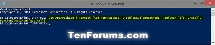 Click image for larger version.  Name:PowerShell_Register_Apps.jpg Views:2326 Size:35.2 KB ID:9187