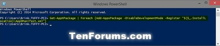 Click image for larger version.  Name:PowerShell_Register_Apps.jpg Views:2544 Size:35.2 KB ID:9187