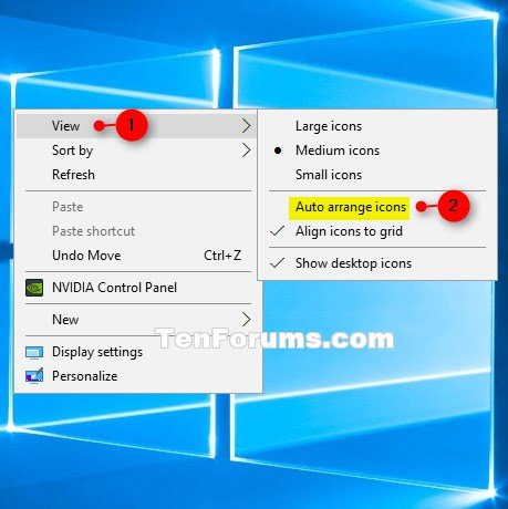 Turn On or Off Auto Arrange Desktop Icons in Windows 10