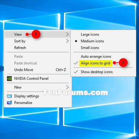 Turn On or Off Align Desktop Icons to Grid in Windows 10