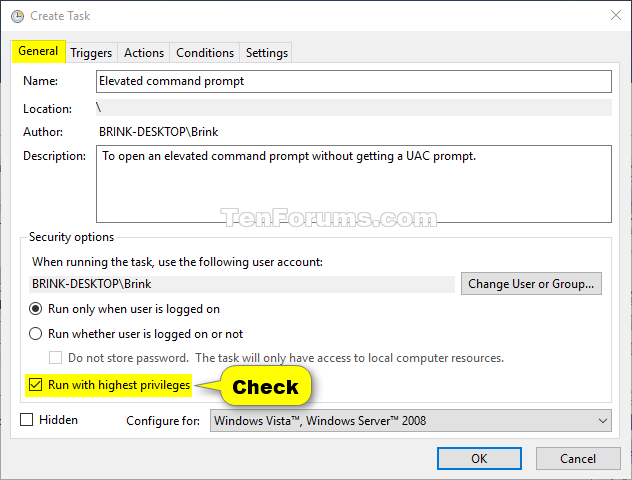 Create Elevated Shortcut without UAC prompt in Windows 10 | Tutorials