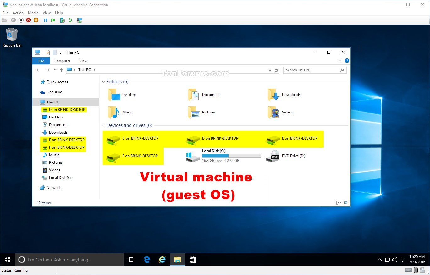 Use Local Devices and Resources on Hyper-V Virtual Machine