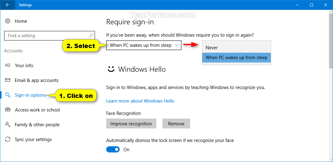 windows 10 how to remove password from sleep mode when computer wake up