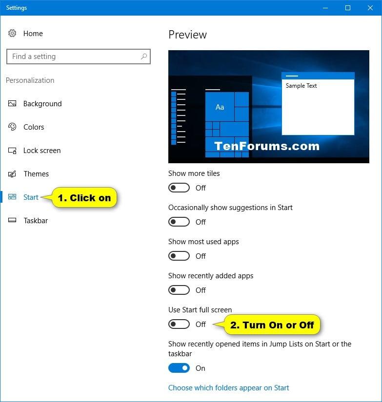 Turn On or Off Full Screen Start Menu in Windows 10 | Tutorials