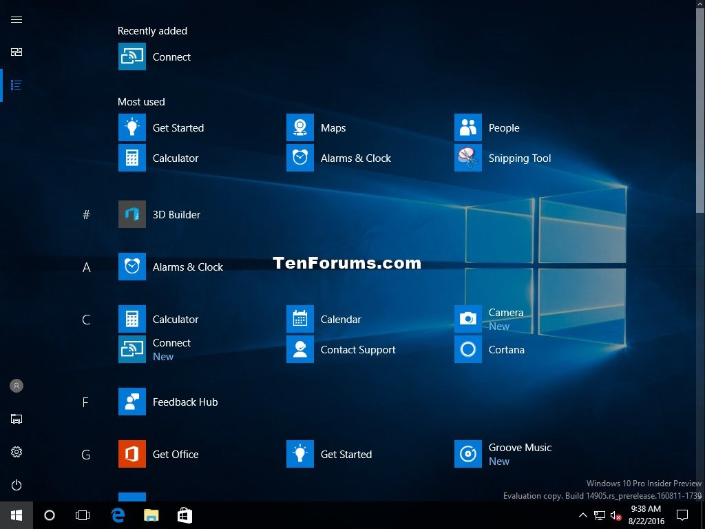 Turn On or Off Full Screen Start Menu in Windows 10   Tutorials