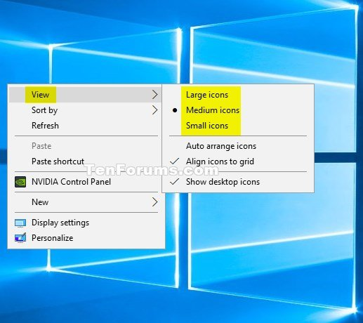 Change Size of Desktop Icons in Windows 10 Windows 10 ...