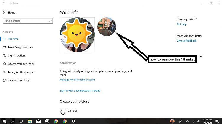 remove the profile/user picture Solved - Windows 10 Forums