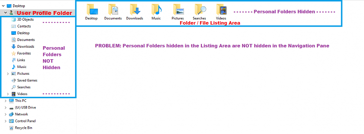 Click image for larger version.  Name:File Explorer - Navigation Pane - User Profile Personal Folders - Hidden in Listing Area Only.PNG Views:1 Size:44.5 KB ID:184463