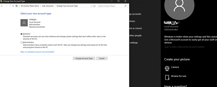 create another admin account windows 10