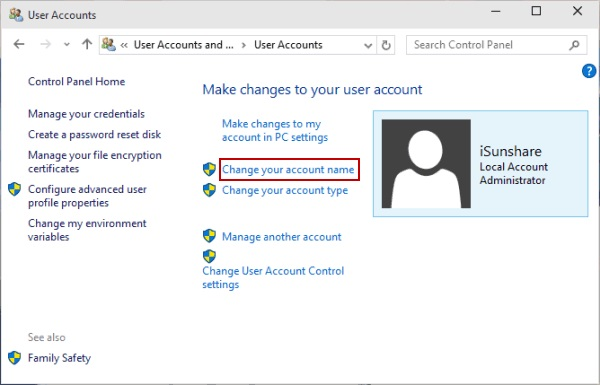 change the administrator name in windows 10