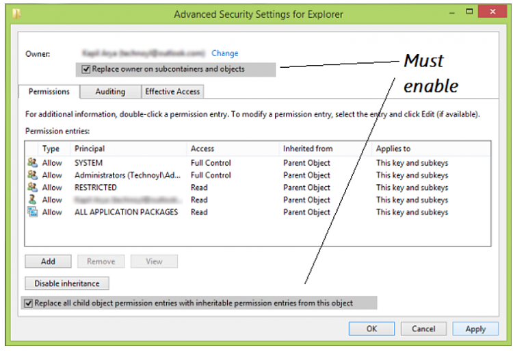 failed to enumerate objects in container, access is denied