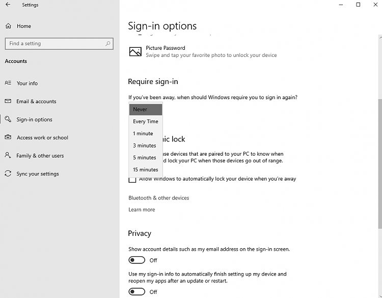 """Sign-in options: Require sign-in """"When PC wakes up from sleep"""" missing-settings2.png"""