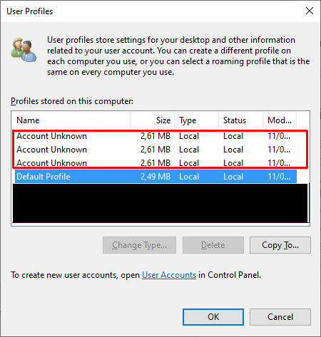 """Delete """"Account Unknown"""" from """"System Properties"""" - """"User Profiles""""?-accountunknown.png"""