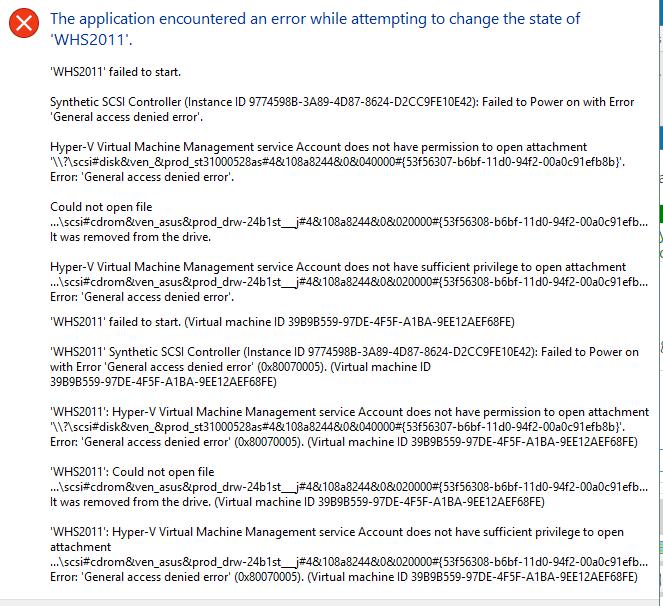 Win10Pro: Updated to 1703 - Hyper-V 0x80070005 Error on VM Solved