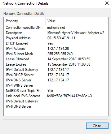 Cannot connect to network in Hyper-V when using default network