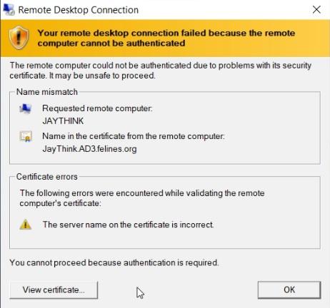 Click image for larger version.  Name:Hyper-V Certificate Mismatch short name vs FQDN error screenshot.jpg Views:8 Size:57.8 KB ID:224650