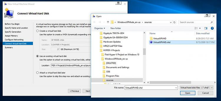 Click image for larger version.  Name:HYPER-V XP MODE 6 BROWSE TO ATTACH VIRTUALXPVHD FILE.jpg Views:4 Size:100.1 KB ID:34512