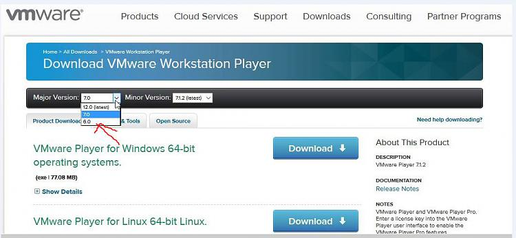 Click image for larger version.  Name:VM PLAYER FREE VERSION MAJOR 32BIT OPTION.jpg Views:3 Size:75.8 KB ID:38391