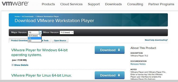 Click image for larger version.  Name:VM PLAYER FREE VERSION MAJOR VERSION SELECTED.jpg Views:3 Size:76.8 KB ID:38998