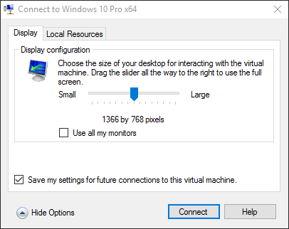 Possible to change Hyper-V console resolution? Solved - Windows 10