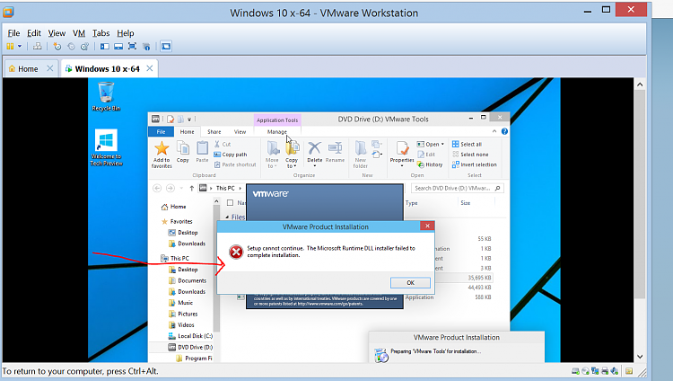 Vmware workstation 10 3 - W10 cannot install vmware tools Solved