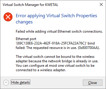 Wifi adapter no longer supported in Hyper-V virtual switch - Windows