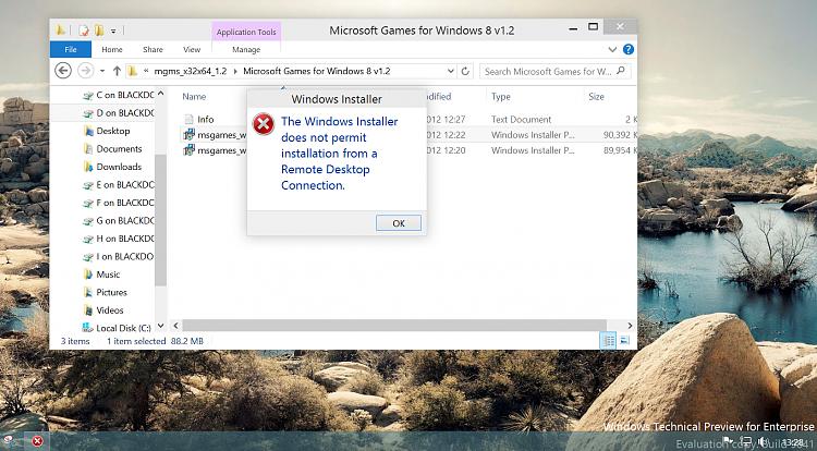 HYPER-V VM via RDP - Cannot install Pgms !!!!! Solved - Windows 10