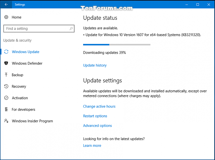 Critical Update KB3211320 for Windows 10 Version 1607